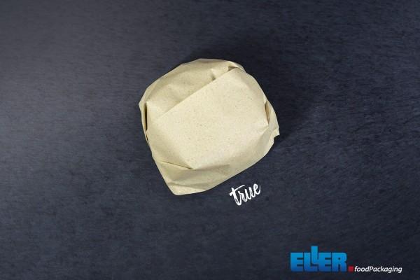 WrappingPaper im true Design verpackt einen Burger mit Sicht aus der Vogelperspektive.