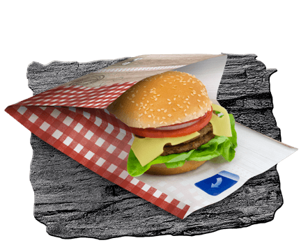 Paper burger packaging with integrated adhesive closure