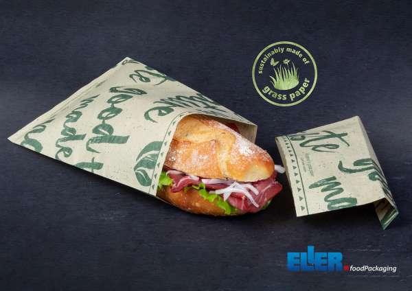 Umweltfreundliche Graspapier Tüten Verpackung für Sandwiches und Snacks