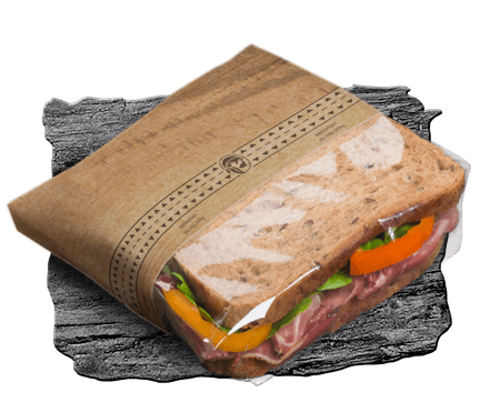 Paper packaging with protective film for halved sandwiches