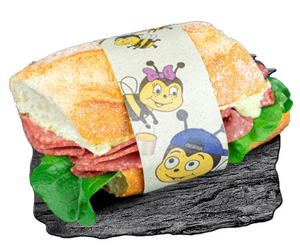 child-friendly sandwich packed in a cheerful children's motif banderole
